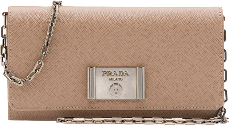 Prada-Saffiano-Lock-leather-flap-wallet-on-chain-2