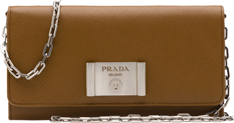 Prada-Saffiano-Lock-leather-flap-wallet-on-chain-4