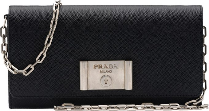 6b2480d37722 Low Price Replica Bags Prada Saffiano Lock Leather Flap Wallet on Chain