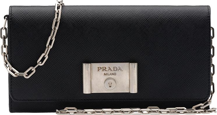 Prada-Saffiano-Lock-leather-flap-wallet-on-chain
