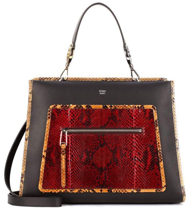 c9e2a9bbebef Fendi Runaway leather and snakeskin shoulder bag - Popular Prada ...