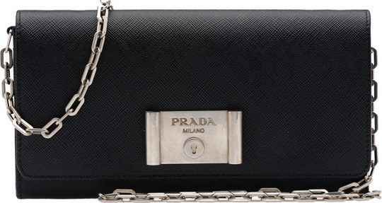 Prada-Saffiano-Lock-leather-flap-wallet-on-chain
